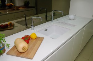 Hi shine worktops with matching sink