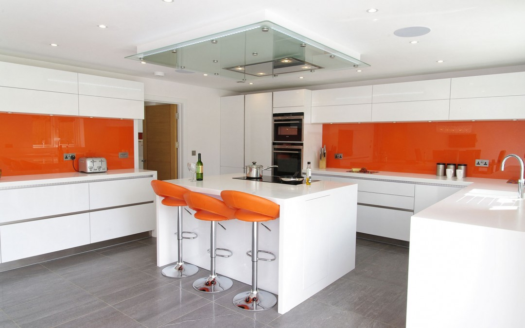 orange and white gloss kitchen ptc kitchens
