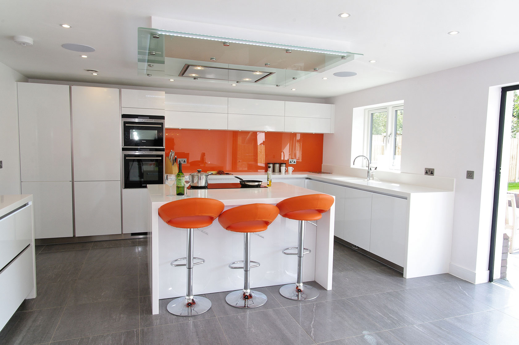 Orange And White Kitchen Orange And White Gloss Kitchen Ptc Kitchens
