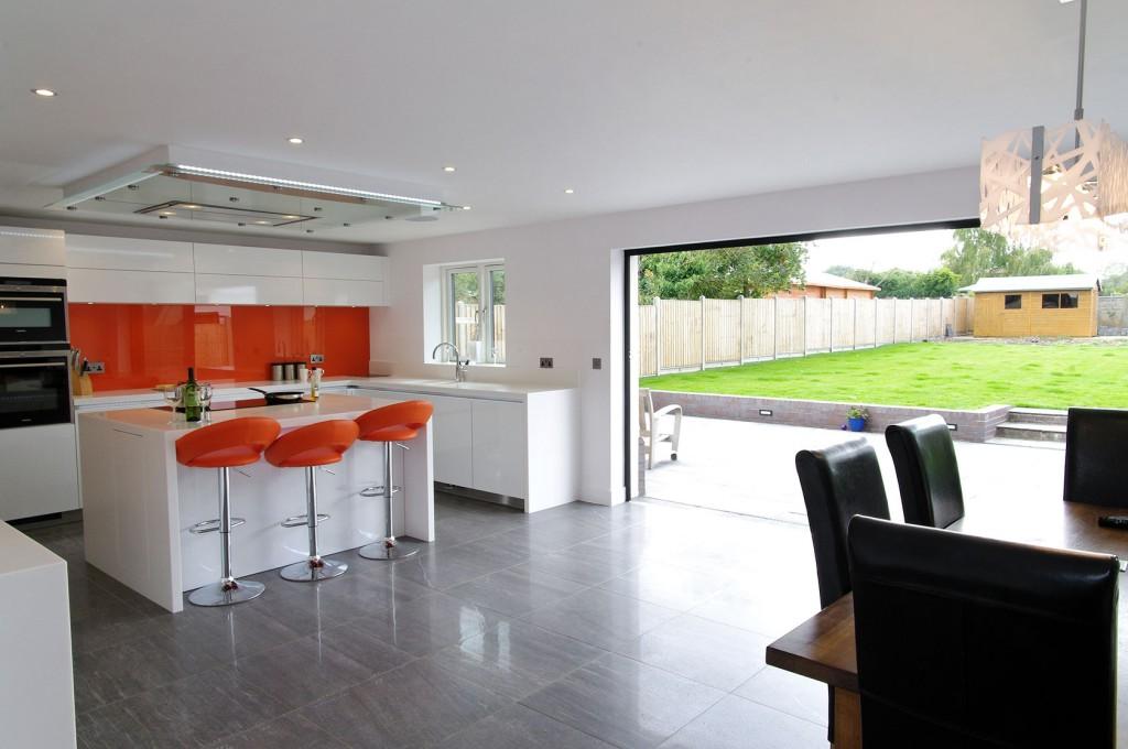Orange and White Gloss Kitchen