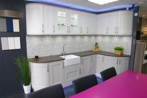 Worktops, cupboards and LEDlighting