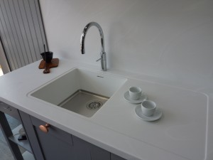 Corian sink, worktop and seamless splashback