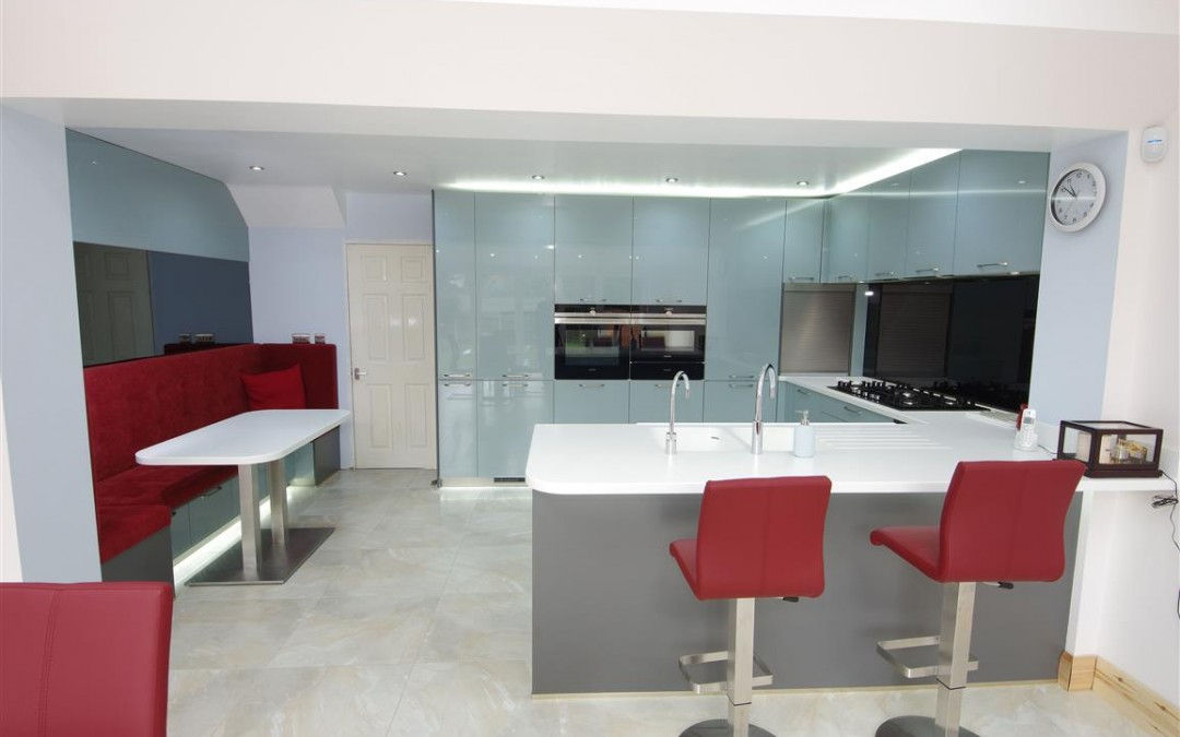 A Contemporary Kitchen with a Banquet Seating Area