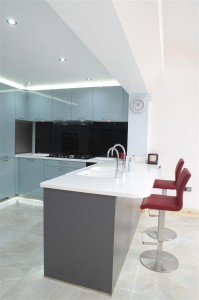 Patterned white solid surface worktops