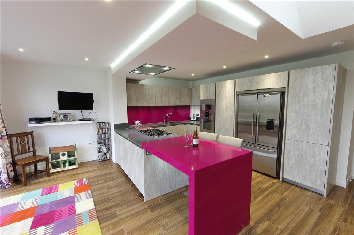 modern design with magenta accents - Magenta Kitchen Design