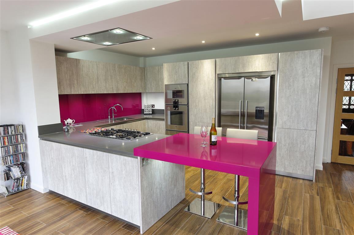 modern design with magenta accents ptc kitchens - Magenta Kitchen Design