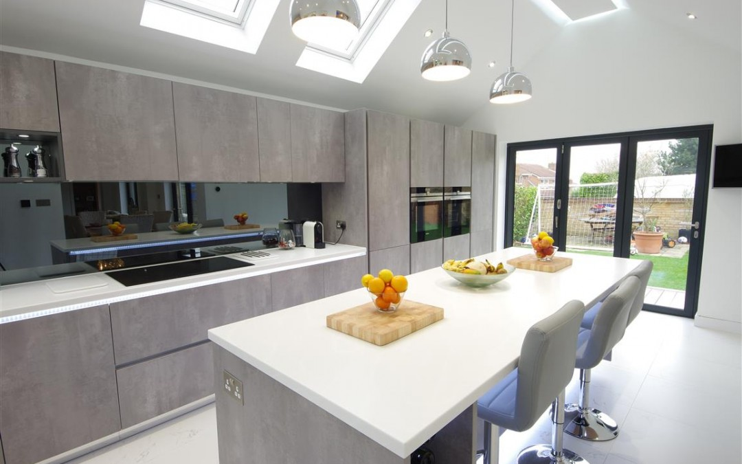 Contemporary Pearl Grey Kitchen Design with Plenty of Light