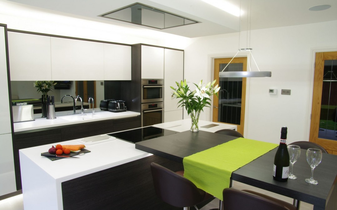 An Open Modern Black & White Kitchen