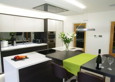 An Open Modern Black & White Kitchen