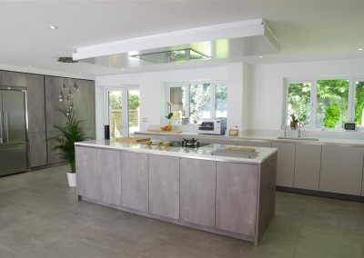 impeccable Concrete Pearl Grey Kitchen with Center Island