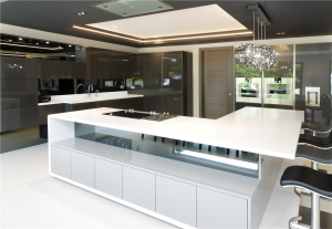 Corian Designer White Worktops with Gutmann Extractor and Gaggenau appliances