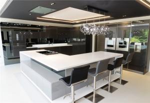 Corian Designer White Worktops with luxury Italian seating by Peressini Casa