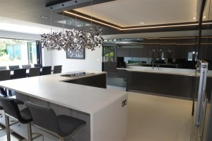 Corian Designer White Worktops with luxury Italian seating by Peressini Casa
