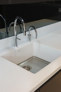 Corian Designer White Worktops with Quooker Scale Control PRO3 Nordic Round Twintaps in Chrome