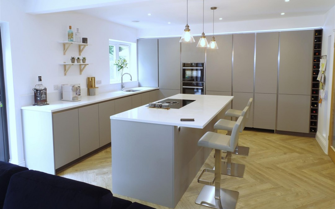 Pearl Grey Kitchen with Miami White island and.. HIDDEN door!