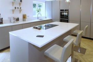 Silestone by Cosentino Miami white worktops, Quooker PRO3 Flex tap and BORA Basic hob