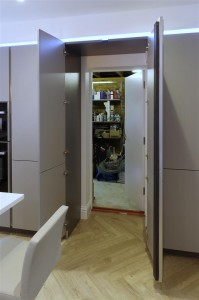 Pearl Grey Kitchen with hidden door (open)