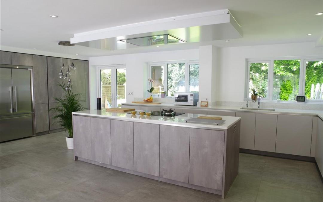 impeccable Concrete Pearl Grey Kitchen with Center Island
