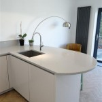 High Gloss Taupe Kitchen with Blanco Sink and Silestone worktops Alumino Nube