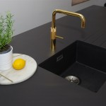 PRO3 Fusion Square gold and blanco subline sink anthracite on Dekton Domoos worktop
