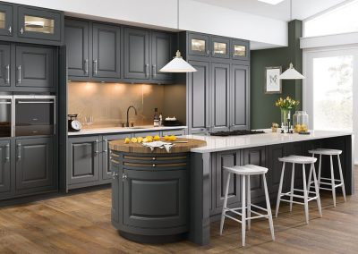 traditional dark grey and walnut kitchen