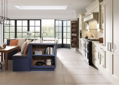 classic kitchen with island and banquette seating
