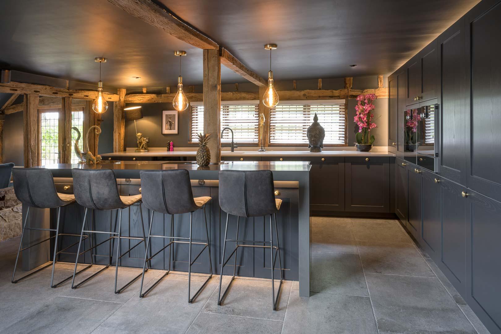 dark grey traditional kitchen