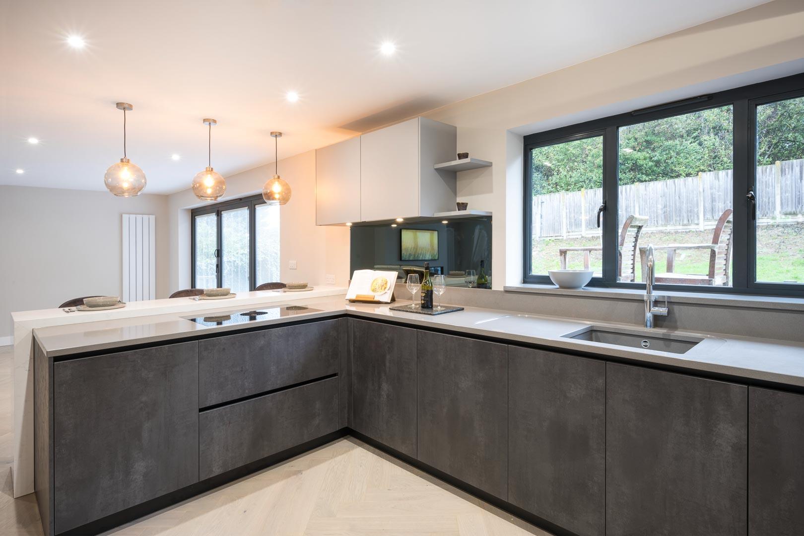 two tone kitchen in grey