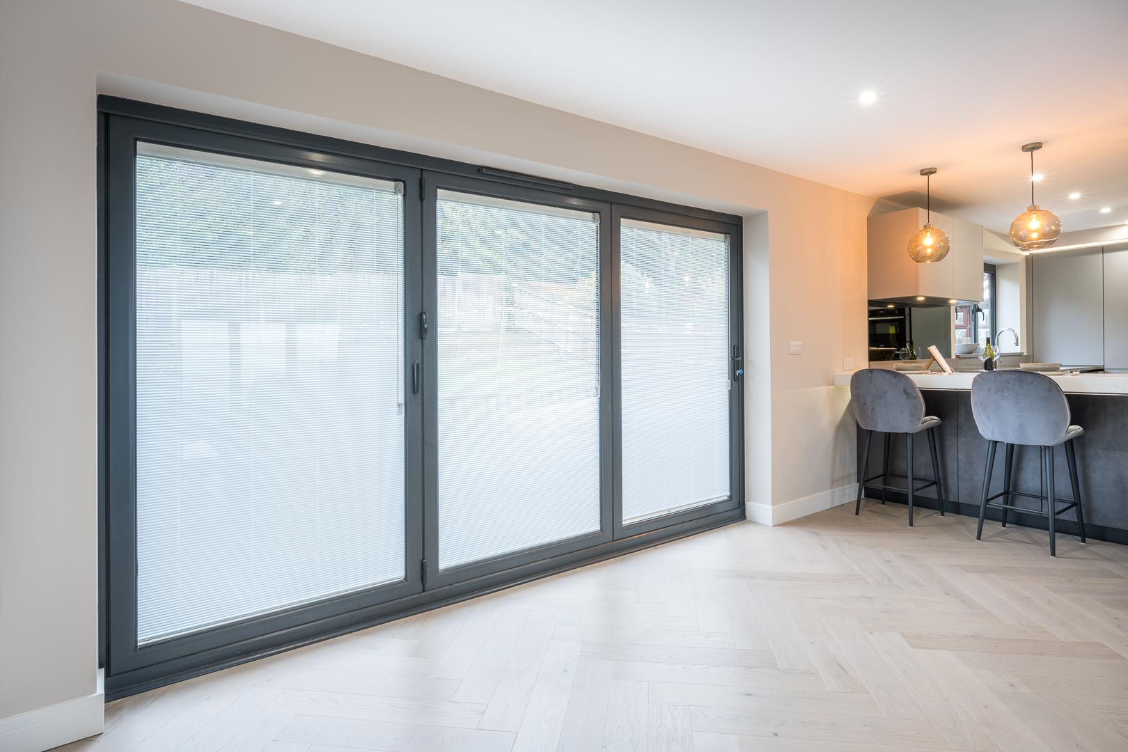Bifold doors with blinds