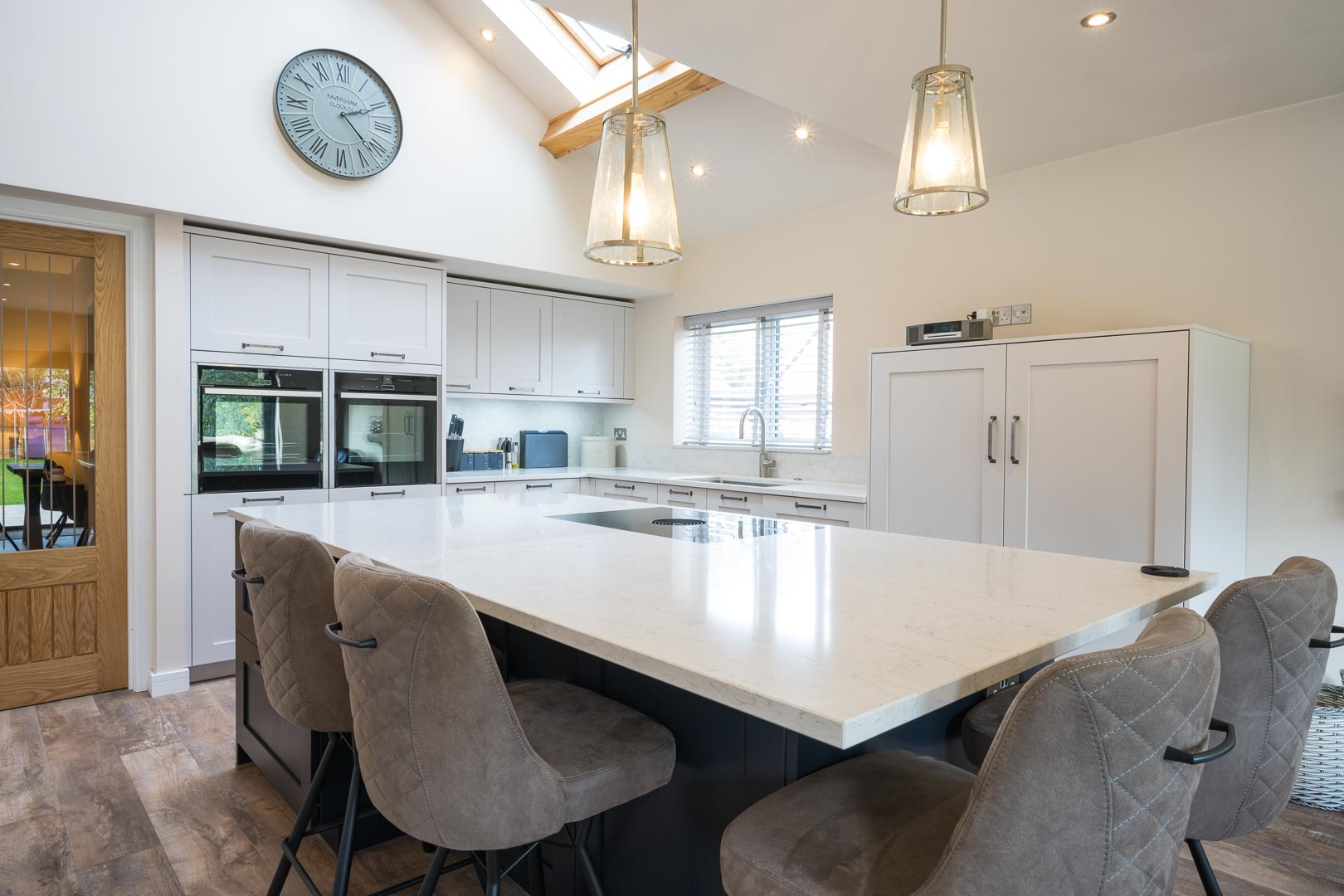 open plan traditional kitchen with island